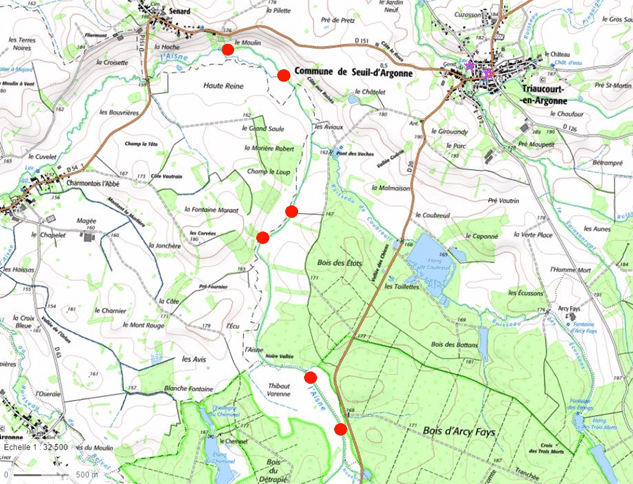 Localisation des 6 seuils situés sur partie aval de l'Aisne meusienne