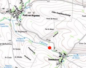 Localisation du seuil situé sur partie apicale de l'Aisne meusienne
